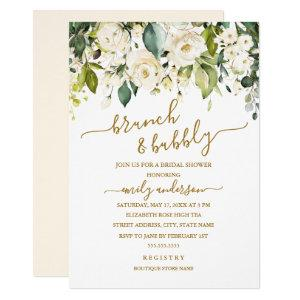 Gold White Rose Brunch And Bubbly Bridal Shower Invitation starting at 2.55