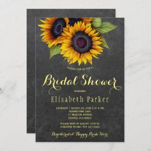 Golden sunflowers rustic chic bridal shower invitation starting at 2.51