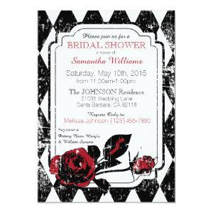 Goth Roses Grunge Diamond Print Bridal Shower Invitation starting at 2.82