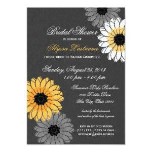 Gray and Yellow Slate and Flowers Bridal Shower Invitation starting at 2.36