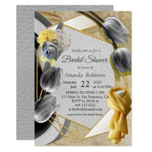Gray and Yellow tulips on texture Invitation starting at 2.20