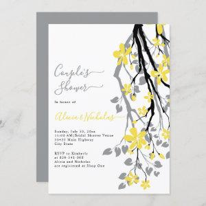 Gray branch with yellow flowers couples shower invitation starting at 2.40