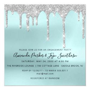 Gray Silver Spark Drips Bridal Wedding Tiffany Magnetic Invitation starting at 4.45