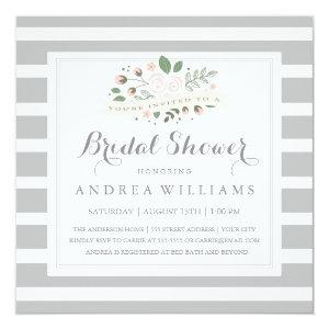 Gray Stripe and Floral Bridal Shower Invite starting at 2.25