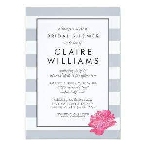 Gray Stripe & Pink Peony Bridal Shower Invitation starting at 2.51