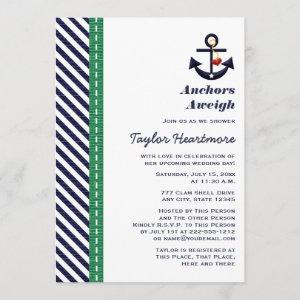 Green and Navy Blue Anchor Bridal Shower Invites starting at 2.66