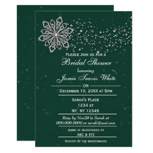 green and Silver Winter Bridal shower invite starting at 2.50