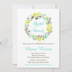 Green & Brown Floral Wreath Bridal Shower Invitation starting at 2.66