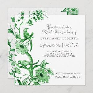 Green Chinoiserie Floral Watercolor Bridal Shower starting at 2.51