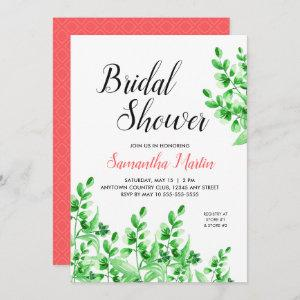 Green Foliage and Coral Accents Bridal Shower Invitation starting at 2.51