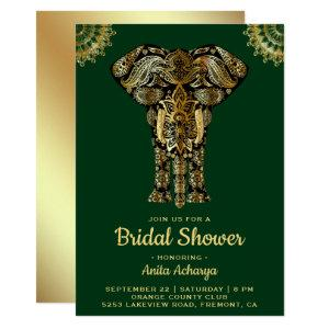 Green Gold Elephant Indian Bridal Shower Invite starting at 2.45
