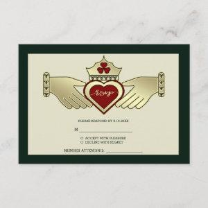 Green Gold Maroon Red Claddagh Wedding RSVP starting at 2.11