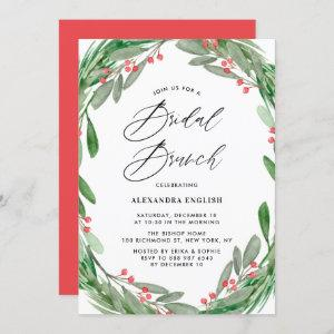 Greenery and Holly Wreath Winter Bridal Brunch Invitation starting at 2.40