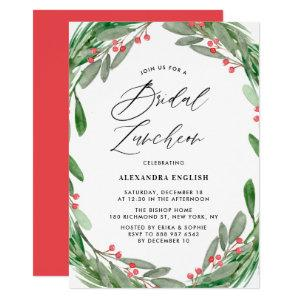 Greenery and Holly Wreath Winter Bridal Luncheon Invitation starting at 2.40