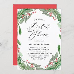 Greenery and Holly Wreath Winter Bridal Shower Invitation starting at 2.40