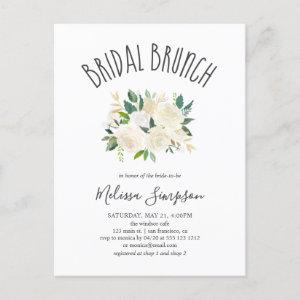 Greenery And White Flowers Bridal Brunch Invitation Postcard starting at 1.65