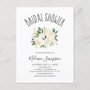 Greenery And White Flowers Bridal Shower Invitation Postcard starting at 1.65