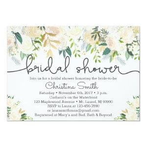 Greenery Bridal Shower Invitation w Ivory Accents starting at 2.51