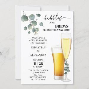 Greenery Bubbles and Brews Couples Shower Invitation starting at 2.55