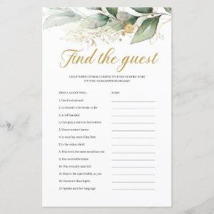Greenery eucalyptus gold boho find the guest game starting at 0.71