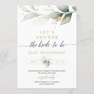 Greenery eucalyptus gold bride-to-be bridal shower invitation starting at 2.40