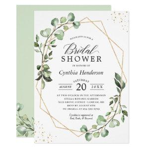Greenery Eucalyptus Gold Geometric Bridal Shower Invitation starting at 2.10