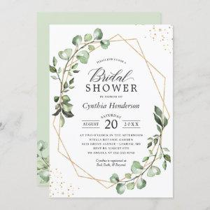 Greenery Eucalyptus Gold Geometric Bridal Shower Invitation starting at 2.30