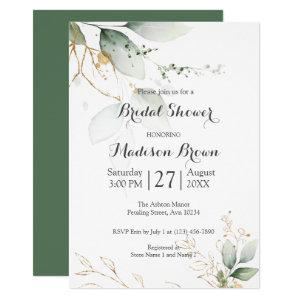 Greenery Floral Gold Foil Leaves Bridal Shower Invitation starting at 2.15