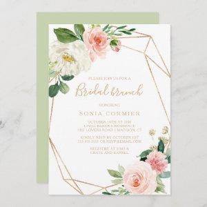 Greenery & Gold Geometric Elegant Bridal Brunch Invitation starting at 2.51