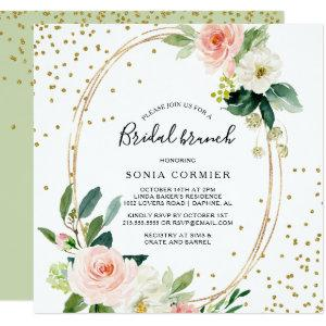 Greenery & Gold Geometric Elegant Bridal Brunch Invitation starting at 2.41
