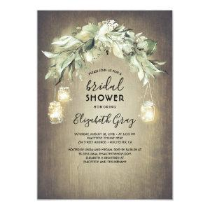 Greenery Mason Jar Lights Rustic Bridal Shower Invitation starting at 2.51
