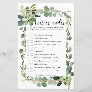 Greenery succulent over or under bridal game starting at 0.71