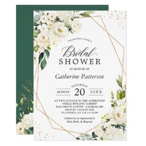 Greenery White Floral Gold Geometric Bridal Shower Invitation starting at 2.25