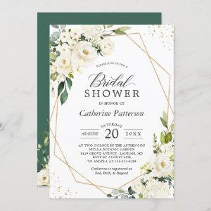 Greenery White Floral Gold Geometric Bridal Shower starting at 2.25