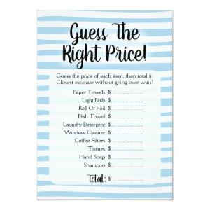 Guess The Price Bridal Shower Game Blue White Invitation starting at 2.66