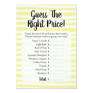 Guess The Price Bridal Shower Game Yellow White Invitation starting at 2.66