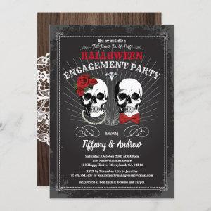Halloween engagement party invitation. Black red Invitation starting at 2.40