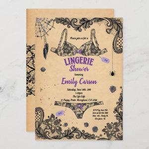Halloween lingerie shower black lace witch party invitation starting at 2.40