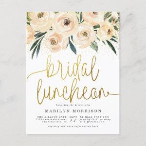 Hand-Painted Flowers Modern Gold Bridal Luncheon Invitation Postcard starting at 1.70