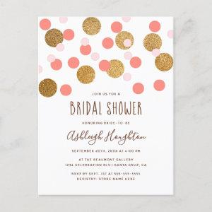Happy Pink and Gold Funky Confetti Bridal Shower Invitation Postcard starting at 1.70
