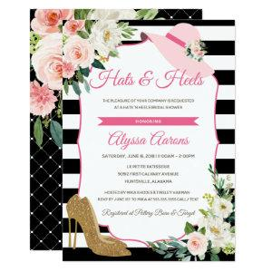Hats & Heels Derby Black Pink Bridal Shower Floral Invitation starting at 2.82