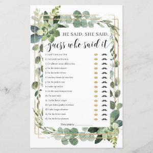 He said She said Bridal Shower Game Succulent boho starting at 0.71