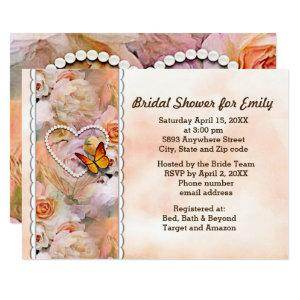 Heart Pearls, Orange Roses & Butterflies Shower Invitation starting at 2.66