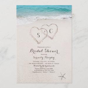 Hearts in the sand beach bridal shower invitation starting at 2.56