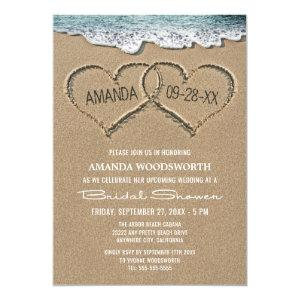 Hearts in the Sand Beach Bridal Shower Invitations starting at 2.25