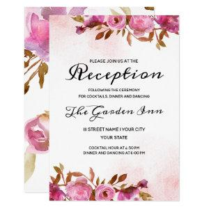 Heirloom Blush Floral Watercolor Wedding Reception Invitation starting at 1.95