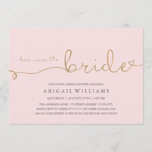 Here comes the bride faux gold invitation starting at 2.35