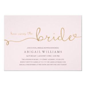 Here comes the bride faux gold invitation starting at 2.10