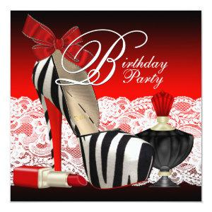 High Heel Shoes Black Red Zebra Party Invitation starting at 2.51