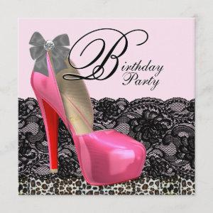 High Heel Shoes Pink Leopard Birthday Party Invitation starting at 2.51